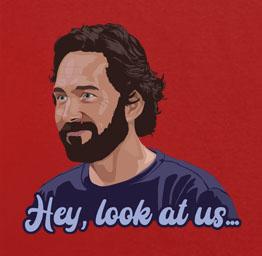 Paul Rudd 'hey, look at us' Hot Ones (premium t-shirt)